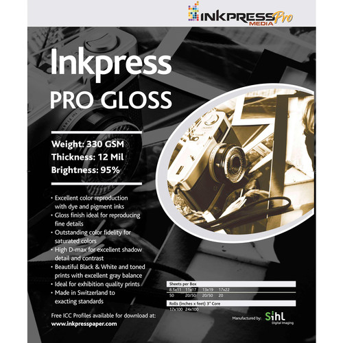 "Inkpress Media Pro Glossy Paper (8.5 x 11"", 20 Sheets)"