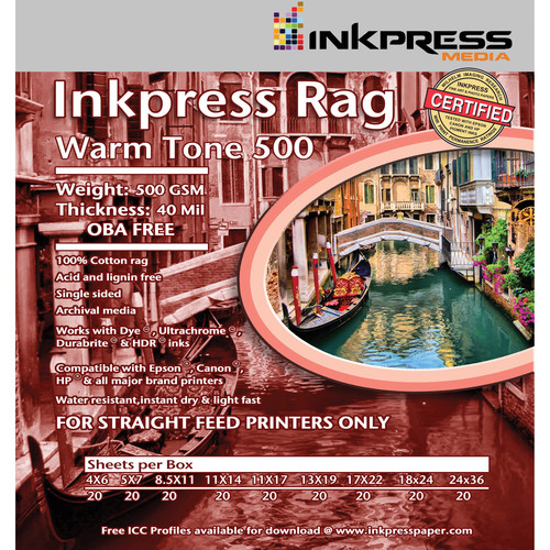 "Inkpress Media Rag Warm Tone 500 Paper (4 x 6"", 20 Sheets)"