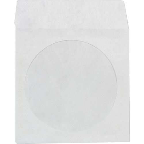 "Inland Products Tyvek CD/DVD Sleeves with 4"" Clear Window and Flap (White, 100-Pack)"