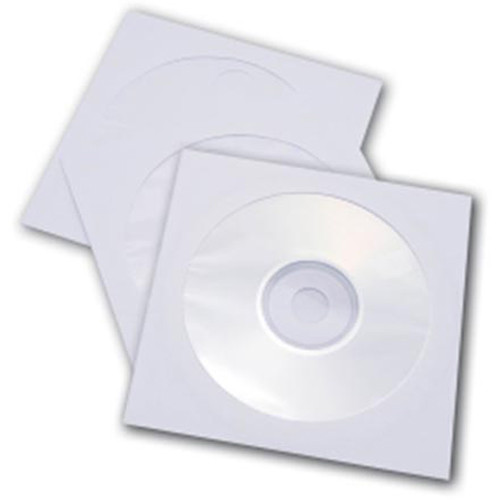 Inland Products Paper CD/DVD/Bluray Sleeves (White, 100-Pack)