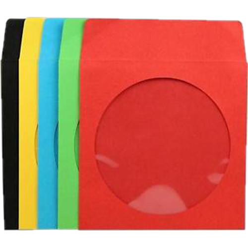 Inland Products Paper CD/DVD/Bluray Sleeves (Multi-Color, 100-Pack)
