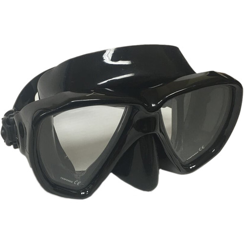 Innovative Scuba Concepts Double Lens Voyager Mask for Freediving, Snorkeling, or Scuba (M/L, Black/Clear)