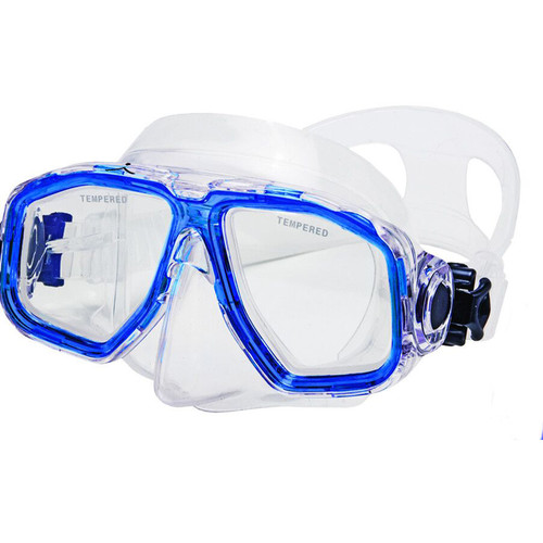 Innovative Scuba Concepts Double Lens Voyager Mask for Freediving, Snorkeling, or Scuba (M/L, Translucent Blue/Clear)