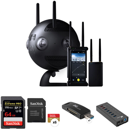 Insta360 Pro II Spherical VR 360 8K Camera, Memory, Card Readers & USB Hub Kit