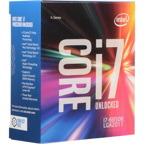 Intel Core i7-6850K 3.6 GHz Six-Core LGA 2011-v3 Processor (Retail)