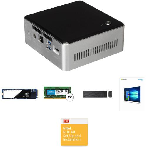 Intel Mini PC NUC Kit with 500GB M.2 SSD, 16GB (2 x 8GB) of DDR3 RAM, Windows 10 Home, and Microsoft Bluetooth Keyboard & Mouse