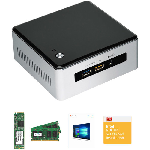 Intel NUC5i3RYH Mini PC NUC Bundle with 8GB RAM, 128GB SSD, and Windows 10 Home