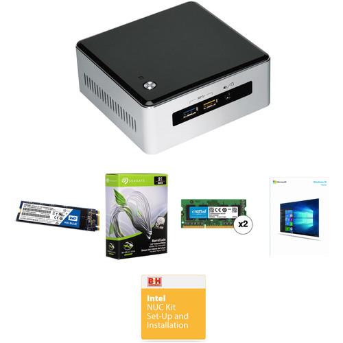 Intel NUC5i3RYH Mini PC NUC Bundle with 16GB RAM, 250GB SSD, 2TB HDD, and Windows 10 Home