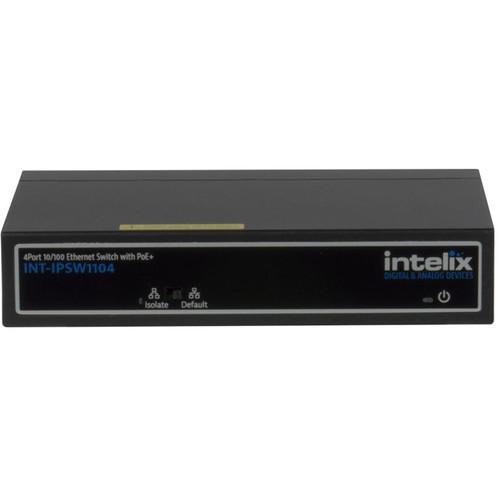 Intelix 4-Port 10/100 BaseT Ethernet Switch with Uplink and PoE+Ports