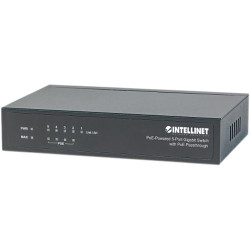 Intellinet 5-Port PoE-Powered Gigabit Switch with PoE Passthrough