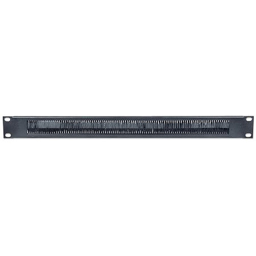 """Intellinet 19"""" Cable-Entry Panel with Brush Insert (1 RU, Black)"""