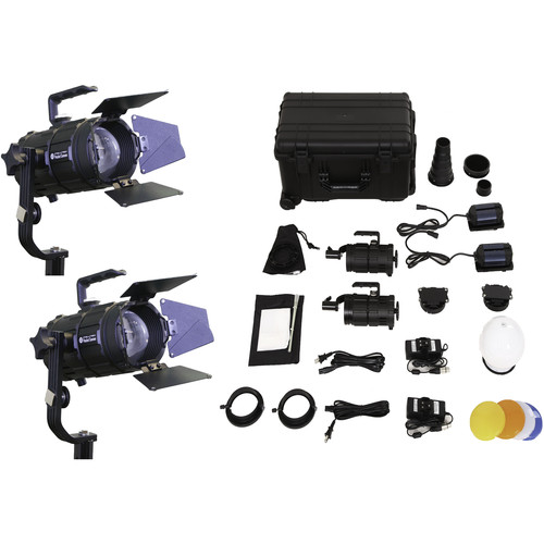 Intellytech Pocket Cannon Daylight Focusable 2-Light LED Fresnel Kit (V-Mount / NP-F)