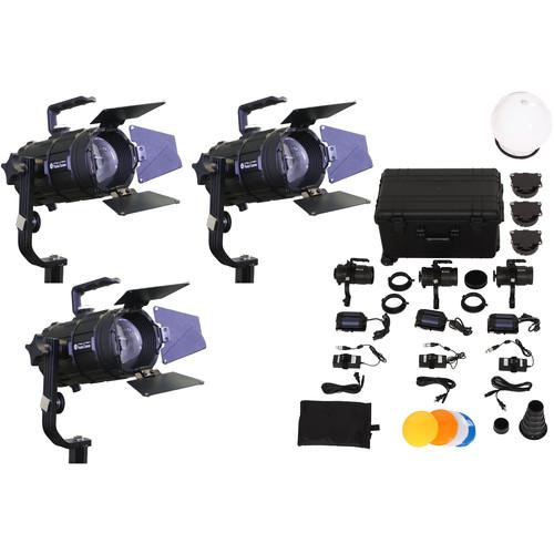 Intellytech Pocket Cannon Daylight Focusable 3-Light LED Fresnel Kit (V-Mount / Gold Mount)