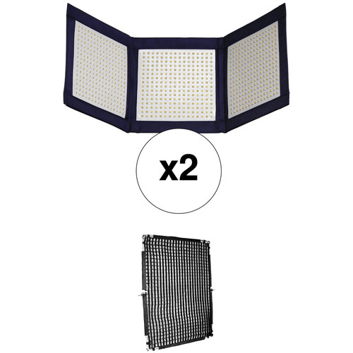 Intellytech LiteCloth LC-120 Foldable 1x3' LED 2-Light Kit with Grid & Diffusion