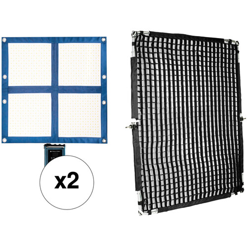 Intellytech LiteCloth LC-160 Foldable 2x2 LED 2-Light Kit with Grid & Diffusion