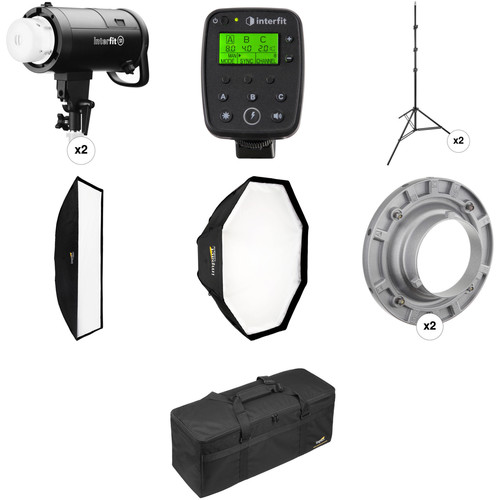 Interfit S1 AC/DC 2-Light TTL Pro Flash Kit for Canon