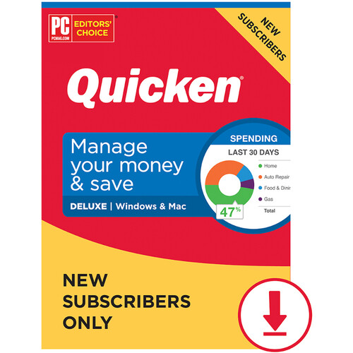 Intuit Quicken 2021 Deluxe Edition (Windows & Mac, Download, 1-Year Subscription)