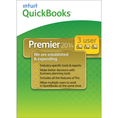 Intuit QuickBooks Premier 2014 Industry Edition (3-User Licenses, Download, Choose 1 of 6 at Time of Download)