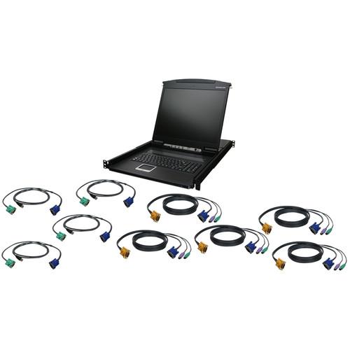 """IOGEAR GCL1908KITU 8-Port 19"""" LCD KVM Drawer Kit with USB KVM Cables"""