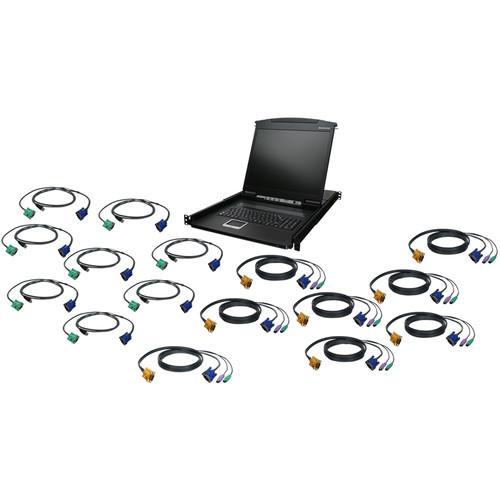 "IOGEAR GCL1916KIT 16-Port 19"" LCD KVM Drawer Kit with PS/2 and USB KVM Cables"