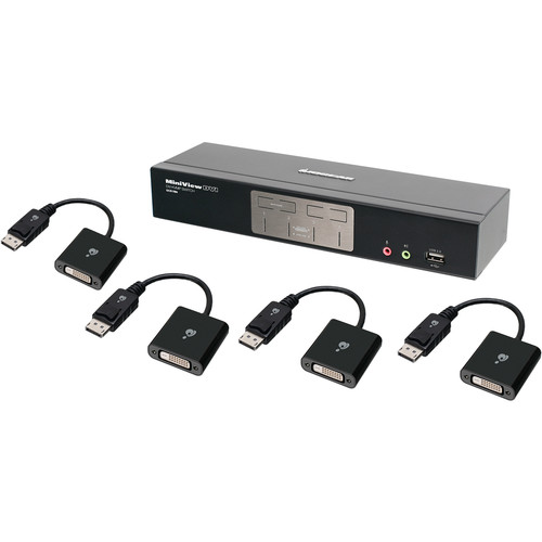 IOGEAR 4-Port Dual-Link DVI KVMP Pro Switch with 2.1 Audio Kit with Four DisplayPort Adapters