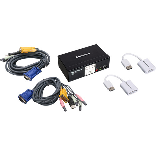 IOGEAR Miniview KVM Switch Kit with Two DisplayPort Adapters