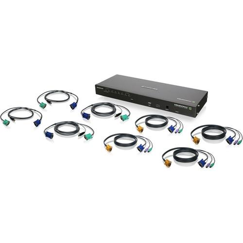 "IOGEAR GCS1808iKITTAA 19"" Rack Mount 8-Port IP Based KVM Switch Kit with PS/2 & USB KVM Cables (TAA Compliant)"