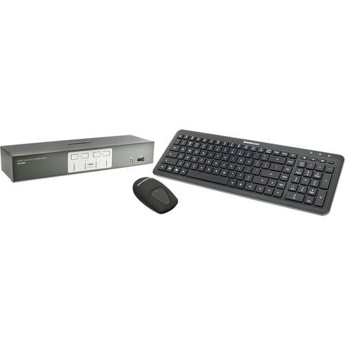 IOGEAR 4-Port 4K UHD DisplayPort KVMP Kit with Keyboard and Mouse