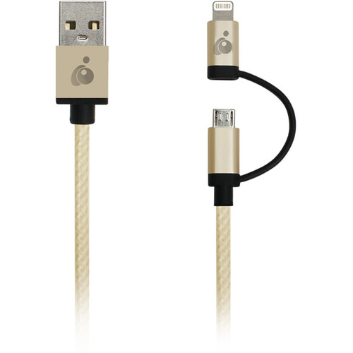 IOGEAR DuoLinq 2-in-1 Charge & Sync Cable (Gold)