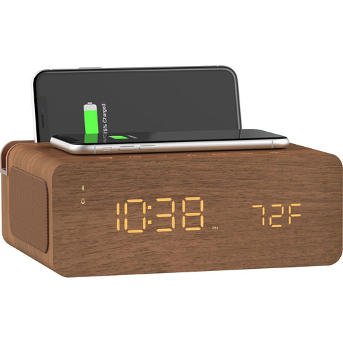 ION Audio Charge Time - Stereo Alarm Clock with Wireless Phone Charging (Brown)