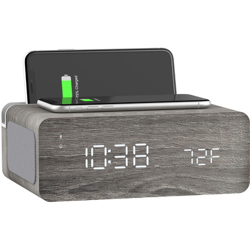 ION Audio Charge Time - Stereo Alarm Clock with Wireless Phone Charging (Gray)