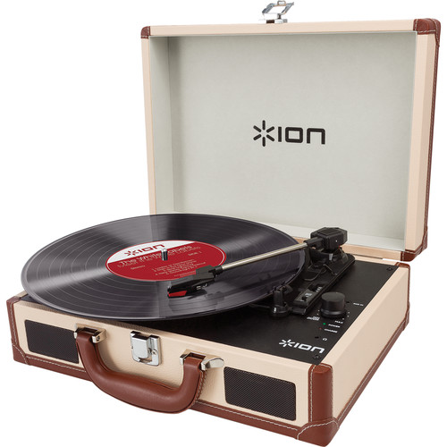 ION Audio Vinyl Motion Portable Suitcase Turntable (Cream)