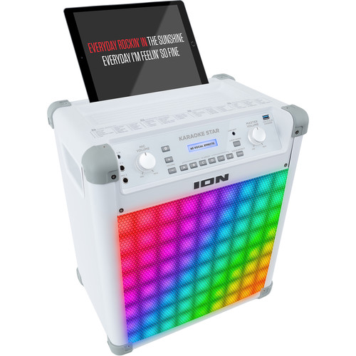 """ION Audio Karaoke Star - Wireless 8"""" 2-Way 50W Speaker System with Vocal Effects and LED Light Panel"""
