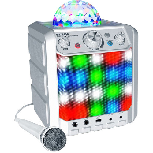 ION Audio Party Rocker Express Bluetooth Speaker with Light Show and Microphone (White)