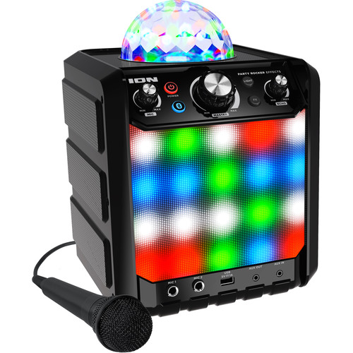 ION Audio - Party Rocker Effects Bluetooth Speaker with Light Show and Microphone (Black) - PARTY ROCKER EFFECTS (BLACK)