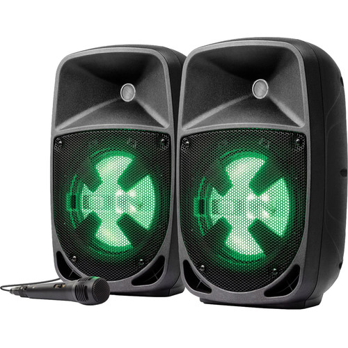 ION Audio Pro Glow DUO 8 Compact PA System with Stands, Mic, and Cables