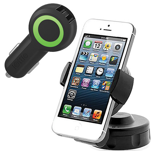 iOttie Easy Flex 2 Car Mount Holder Desk Stand for Smartphones with Rapid Volt Dual Port USB Car Charger Kit