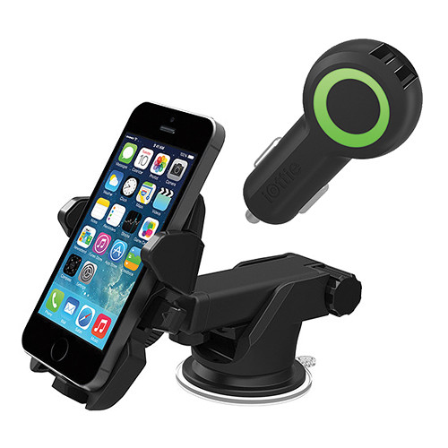 iOttie Easy One Touch 2 Universal Smartphone Car Mount with Dual-Port USB Car Charger Kit (Black)