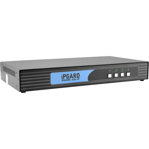 IPGard SDHN-4S-P 4-Port Single-Head 4K DP-to-HDMI KVM Switch with CAC Port