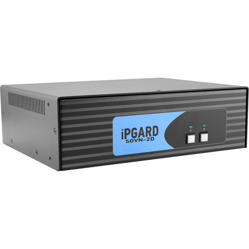 IPGard 2-Port Dual-Head Dual-Link DVI-I KVM Switch with 4K Support