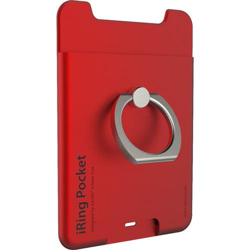 iRing Pocket Smartphone Grip & Card Holder (Red)