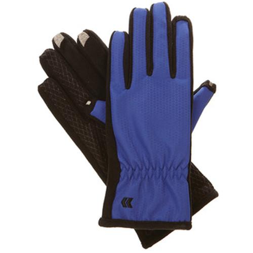 Isotoner Women's smarTouch 2.0 Matrix Nylon Gloves - Ultra Plush Lined (Blue Jewel, Medium/Large)