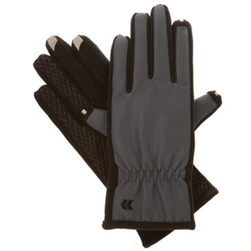 Isotoner Women's smarTouch 2.0 Matrix Nylon Gloves - Ultra Plush Lined (Charcoal, Medium/Large)
