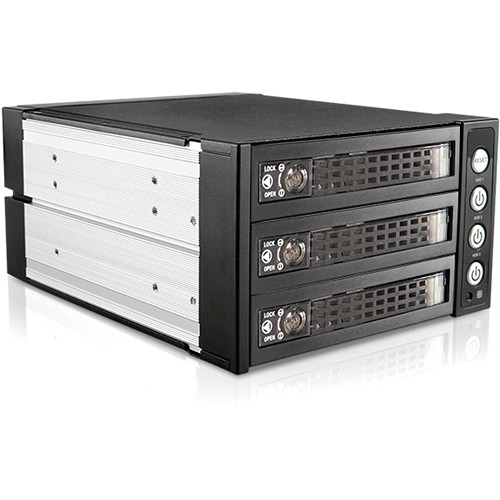 """iStarUSA Two 5.25"""" to Three 3.5""""/2.5"""" SAS SATA 6Gbps HDD SSD Hot-Swap Rack with Key Lock"""