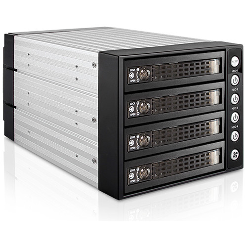 """iStarUSA Three 5.25"""" to Four 3.5/2.5"""" SAS SATA 6Gbps HDD SSD Hot-Swap Rack with Key Lock"""