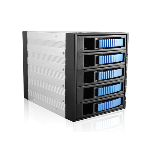 "iStarUSA BPU-350SATA 3 x 5.25"" to 5 x 3.5"" Bay SAS/SATA 6.0 Gb/s Hot-Swap Cage (Blue)"