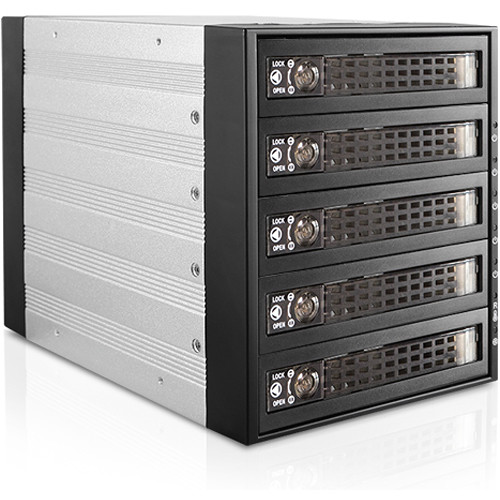 "iStarUSA Three 5.25"" to Five 3.5""/2.5"" SAS SATA 6Gbps HDD SSD Hot-Swap Rack with Key Lock"
