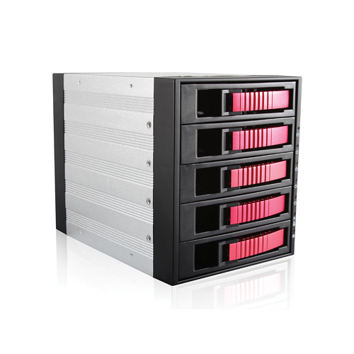 "iStarUSA BPU-350SATA 3 x 5.25"" to 5 x 3.5"" Bay SAS/SATA 6.0 Gb/s Hot-Swap Cage (Red)"