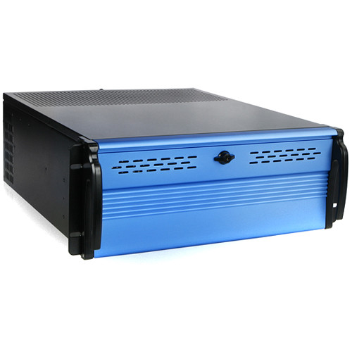 iStarUSA Kit of D Storm Series D2-400-7-BLUE 4 RU Compact Stylish Rackmount Chassis & BPU-340SATA-BLUE Hot-Swap Cage