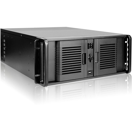 """iStarUSA Compact Stylish Trayless Rackmount Chassis for Six 3.5"""" Hotswap Drives (4RU, Black HDD Handles)"""